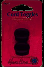 Hemline Cord toggles 6mm x 2 pieces black