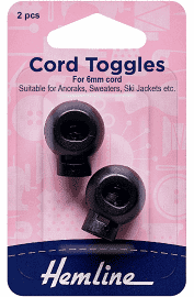 Hemline Cord toggles single hole 6mm x 2 pieces black