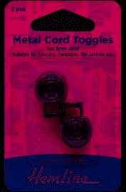 Hemline Cord toggles single hole 6mm x 2 pieces metalic