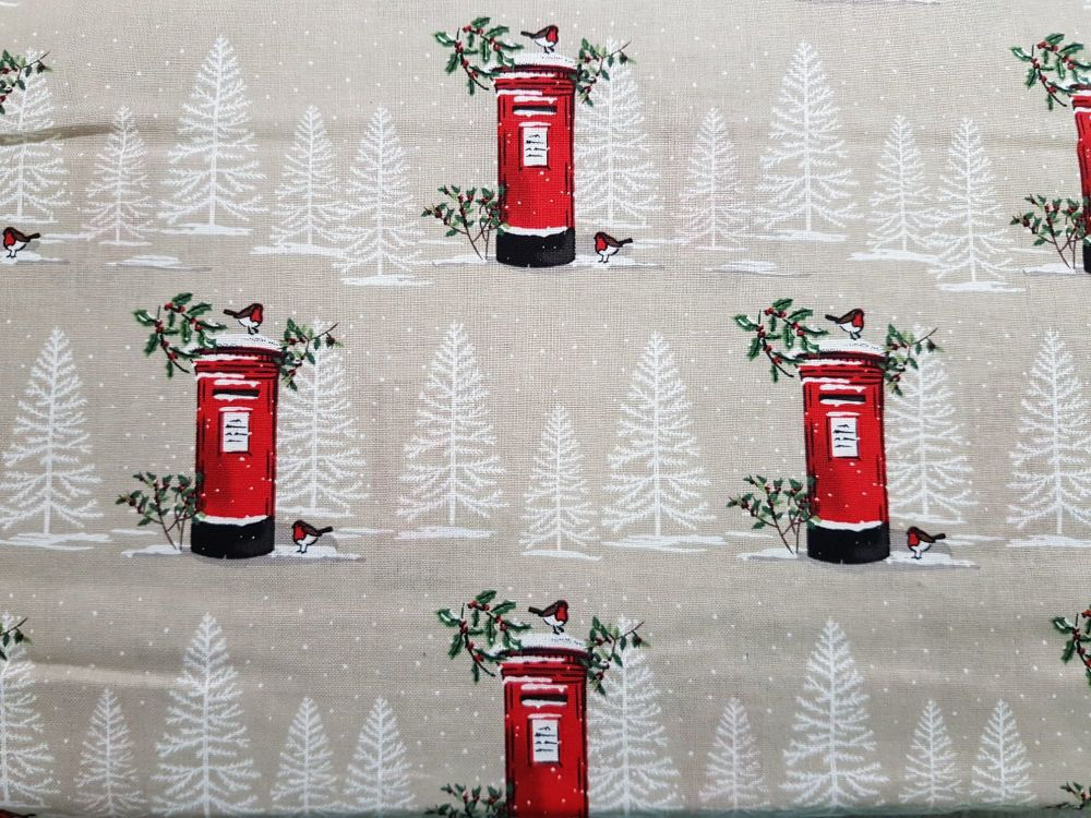 Craft cotton co 2606-01 Red Letter Box Christmas fabric 100% Cotton Fabri
