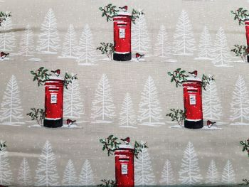 Craft cotton co 2606-01 Red Letter Box Christmas fabric 100% Cotton Fabric Material PRICED PER 0.5 (HALF) METER