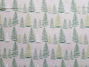 Craft cotton co 2606-04 Christmas snowy trees fabric 100% Cotton Fabric Material PRICED PER 0.5 (HALF) METER