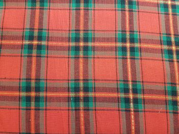 Craft cotton co 2648-01  Tartan Metallic Red 100% Cotton Fabric Material PRICED PER 0.5 (HALF) METER