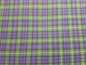 Craft cotton co 2607-01  Tartan Metallic Blue 100% Cotton Fabric Material PRICED PER 0.5 (HALF) METER