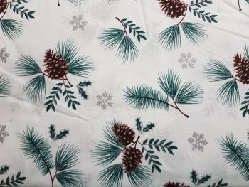 Craft cotton co 2625-02 Christmas snowy woodland pine cone 100% Cotton PRICED PER 0.5 (HALF) METER