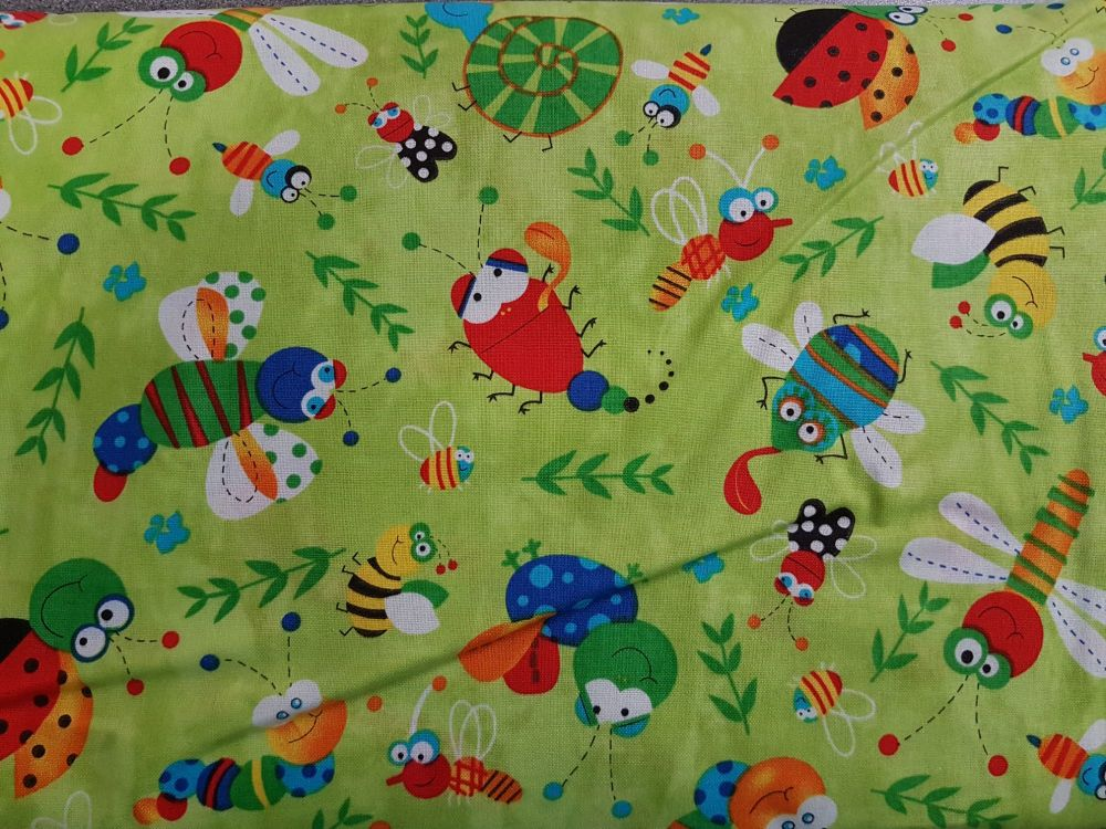 Craft cotton co 2474-20 Happy Bugs Lime 100% Cotton