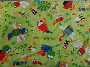 Craft cotton co 2474-20 Happy Bugs Lime 100% Cotton PRICED PER 0.5 (HALF) METER
