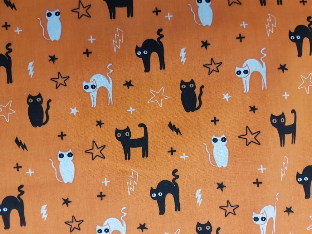 Poly cotton Halloween cats and owls fabric