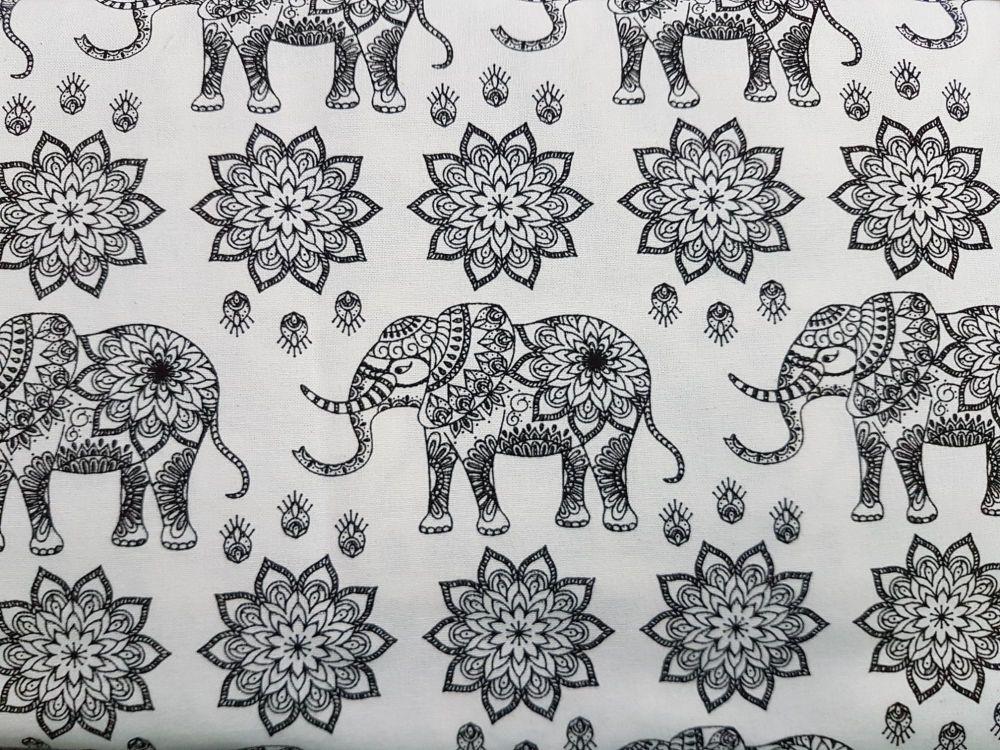 Craft cotton co 2762-01 mandala jungle elephant b&w 100% Cotton Fabric