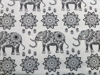 Craft cotton co 2762-01 mandala jungle elephant b&w 100% Cotton Fabric PRICED PER 0.5 (HALF) METER
