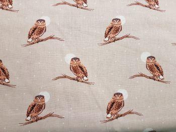 Craft cotton co 2625-03 snowy woodland owl 100% Cotton Fabric PRICED PER 0.5 (HALF) METER