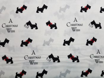 Craft cotton co 2795-02 A Christmas wish sending wishes white 100% Cotton Fabric PRICED PER 0.5 (HALF) METER