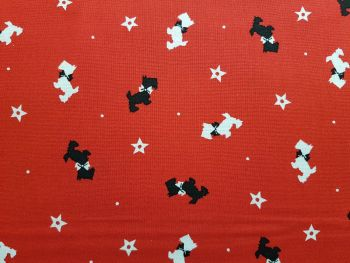 Craft cotton co 2795-04 A Christmas wish sending wishes red 100% Cotton Fabric PRICED PER 0.5 (HALF) METER