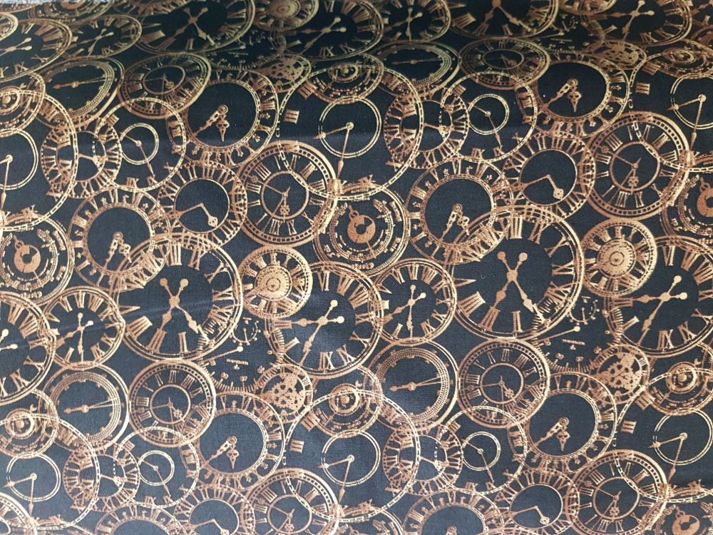 Craft cotton co 1938-01 Steam Punk Clocks 100% Cotton PRICED PER HALF MET