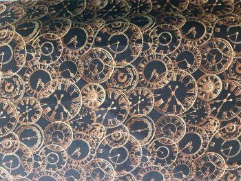 Craft cotton co 1938-01 Steam Punk Clocks 100% Cotton PRICED PER 0.5 (HALF) METER