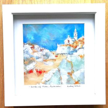 Framed print - Sands of time, Porthleven 8 inch x 8 inch.