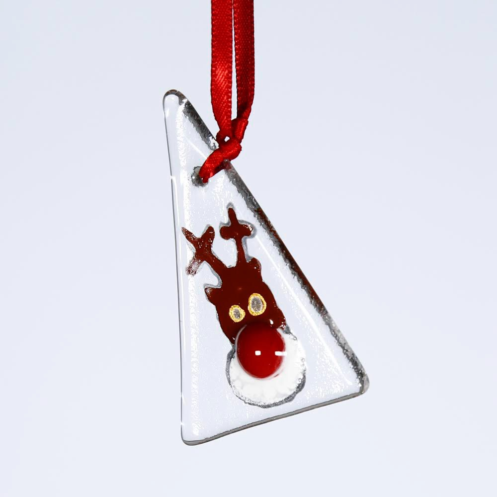 Fused Glass Reindeer Christmas Decoration