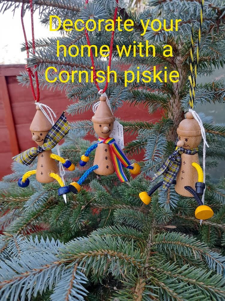 Hand turned Wooden Cornish Piskie decoration