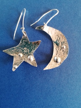 Large ornate Sterling silver moon and star earrings
