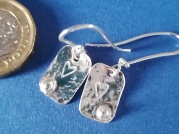 Sterling silver  Hammered oblongs with heart and bauble