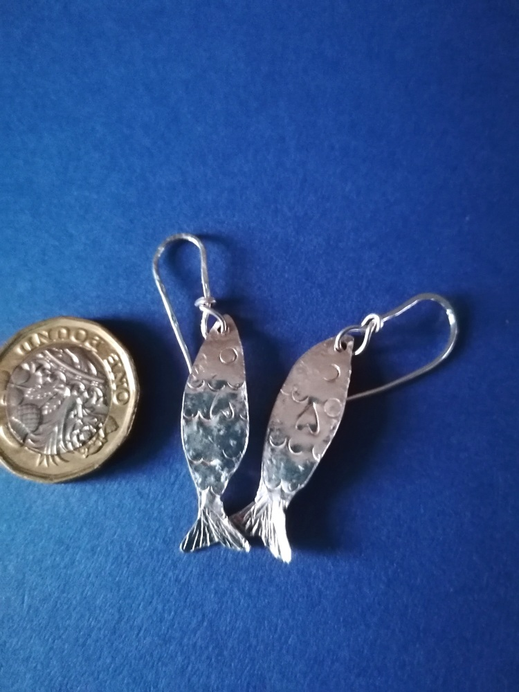 Medium Sterling silver fish earrings