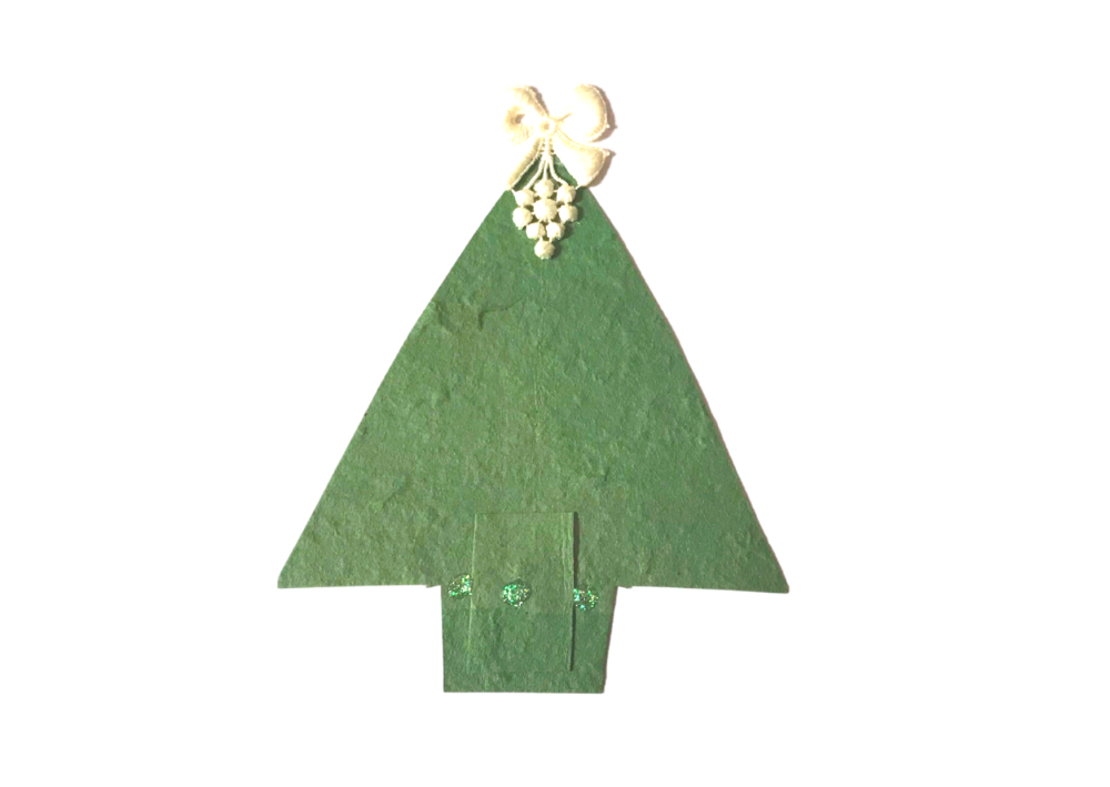 Christmas tree upcycled paper card in green
