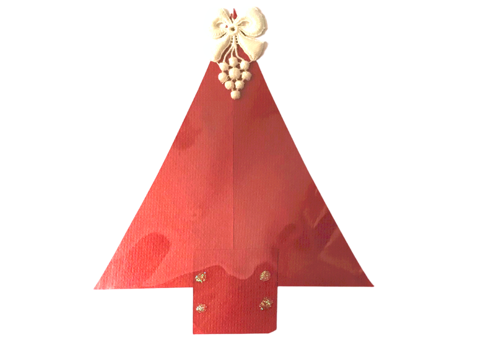 Christmas tree upcycled paper card in red