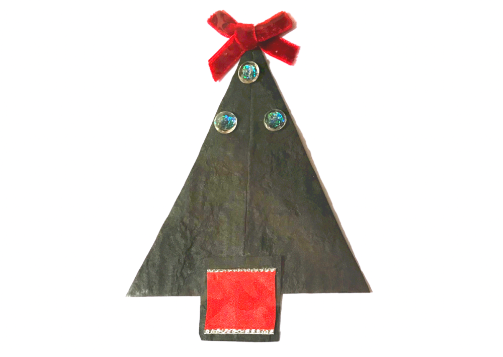 Christmas tree upcycled paper card in black