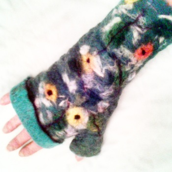 Green Mittens with yellow flowers