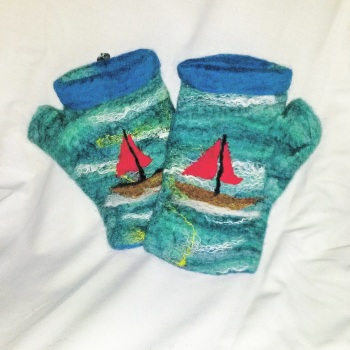Sea green Mittens with boats