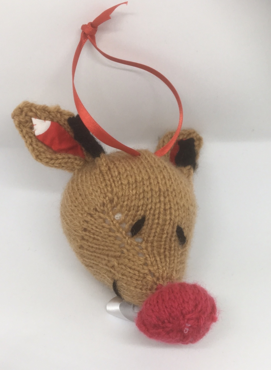 Hand knitted Rudolph tree decoration by Kernow Knitting