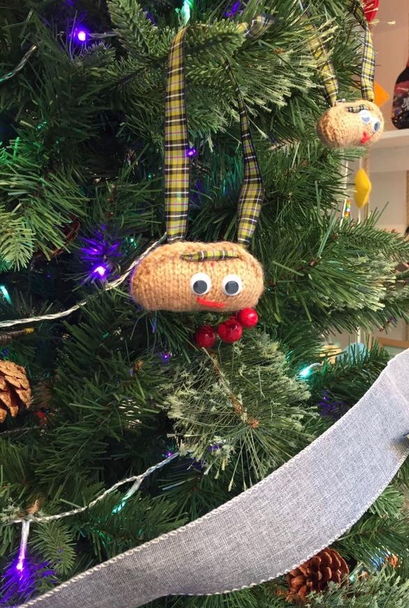Hand knitted pasty tree decoration by Kernow Knitting