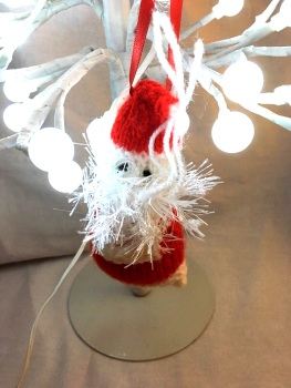 Hand knitted Father Christmas  tree decoration by Kernow Knitting