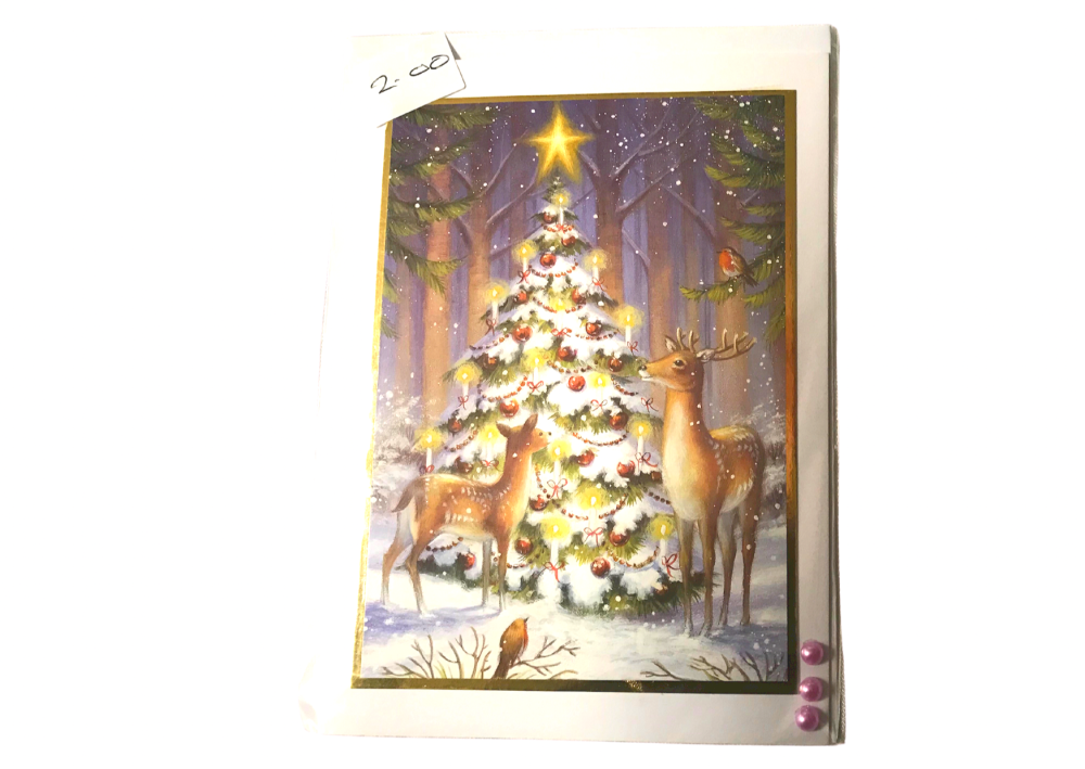 Deer and trees Christmas card by Alison Gilbert