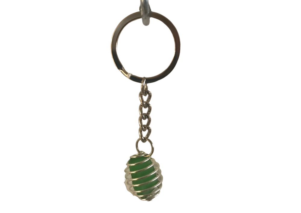 Green caged sea glass key chain by Rachel Wilson