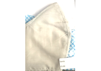 Washable reusable mask in cotton. Gents size.