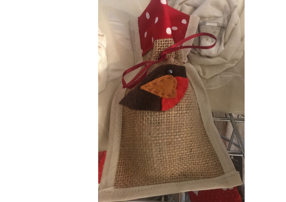 Hessian gift bag with brooch by Annette Costello