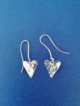 hammered Sterling silver hearts with tiny spirals