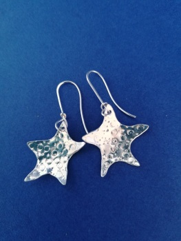 Large starfish Sterling silver earrings