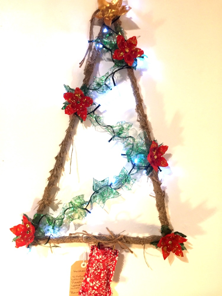 Upcycled plastic bottle Christmas wreath  by Tintastic Flowers and Accessor