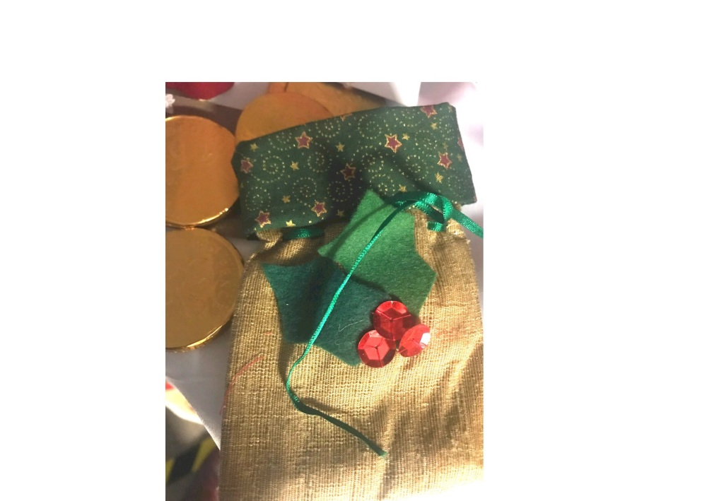 Hand stitched reusable fabric gift bag