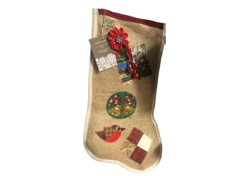 Hessian stocking with seasonal hand stitched appliqués by Annette Costello