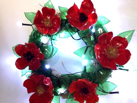 Upcycled plastic bottle Christmas Wreath by Tintastic Flowers and Accessori