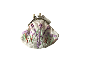 Hand stitched kiss clasp purse by Mary Kingdon