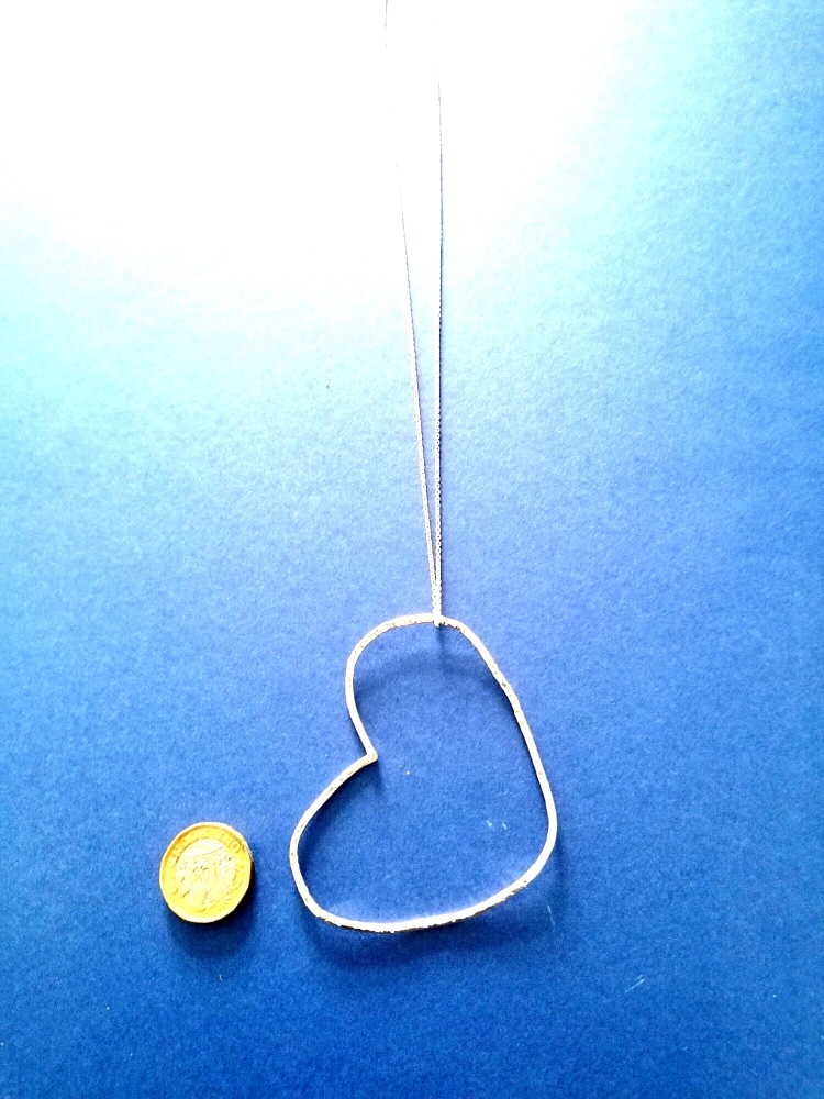 Stirling silver large heart pendant