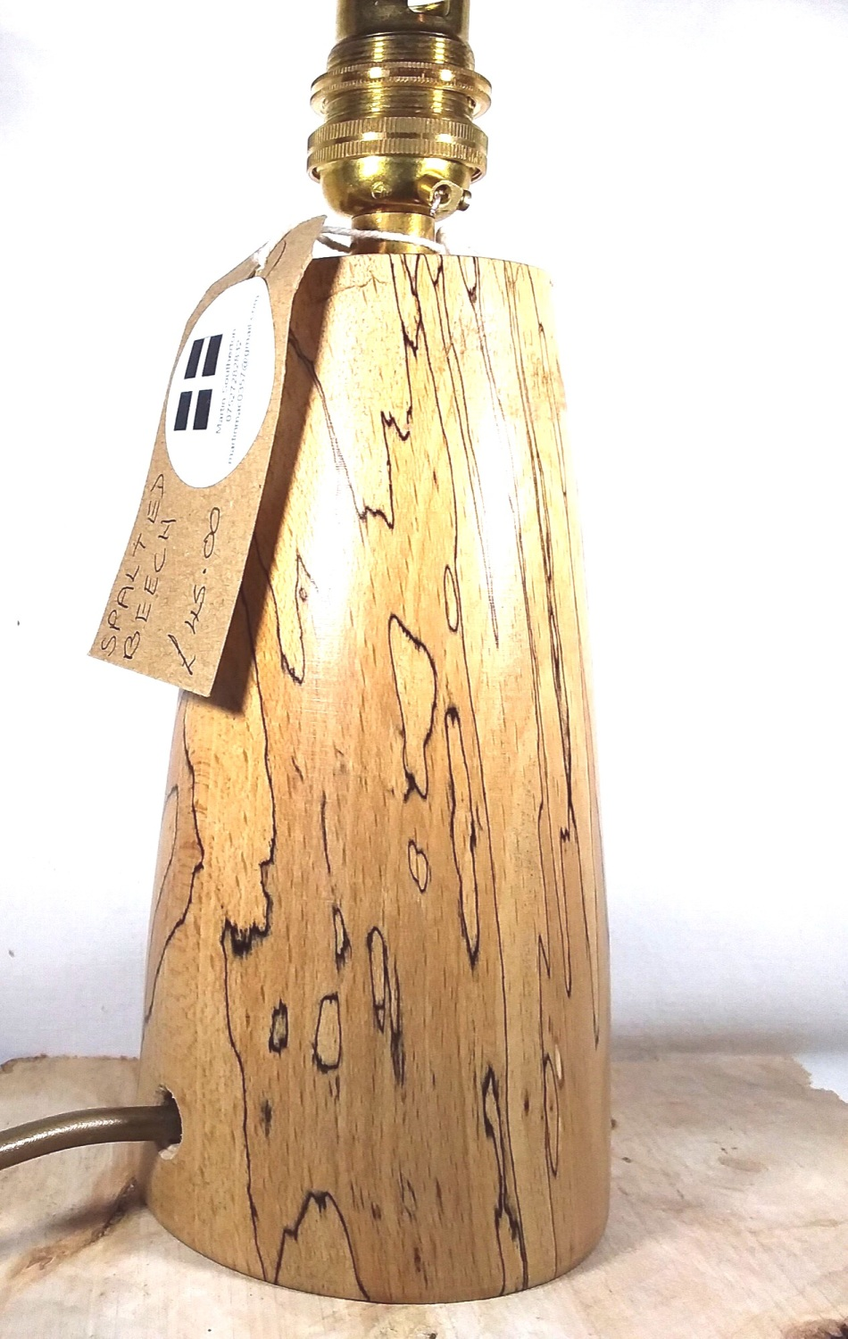 Spalted beech table lamp