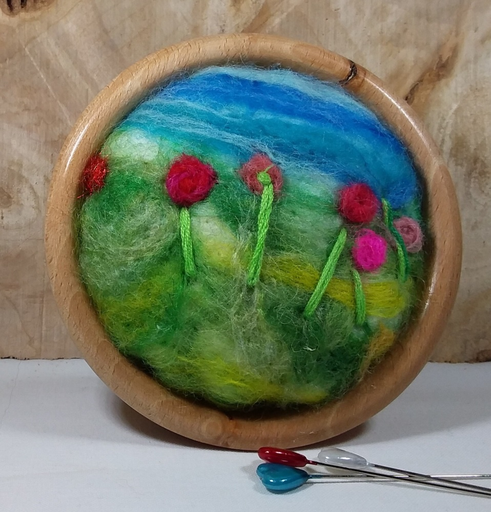 Hand turned ash pin cushion with felted cushion and pin sharpener