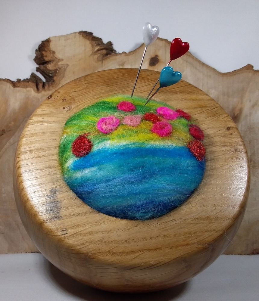 Hand turned oak pin cushion with felted cushion and pin sharpener