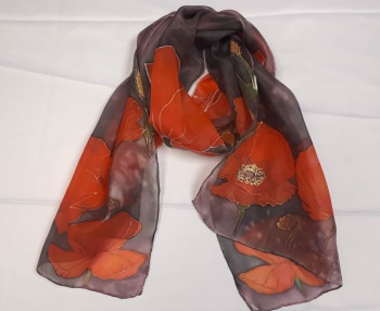 Hand painted poppies silk scarf 35x130cm