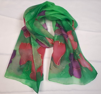 Hand painted sweetpeas silk scarf 35x130cm